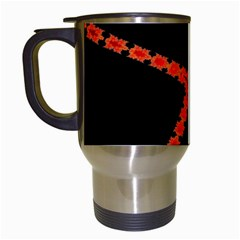 Red Fractal Cross Digital Computer Graphic Travel Mugs (white) by Simbadda