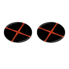 Red Fractal Cross Digital Computer Graphic Cufflinks (oval) by Simbadda