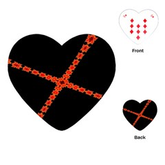 Red Fractal Cross Digital Computer Graphic Playing Cards (heart)  by Simbadda
