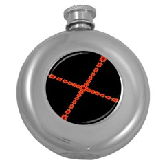 Red Fractal Cross Digital Computer Graphic Round Hip Flask (5 Oz) by Simbadda