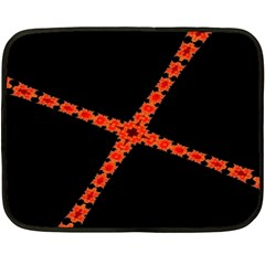 Red Fractal Cross Digital Computer Graphic Fleece Blanket (mini) by Simbadda