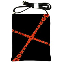 Red Fractal Cross Digital Computer Graphic Shoulder Sling Bags by Simbadda