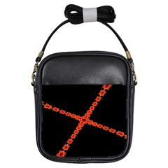 Red Fractal Cross Digital Computer Graphic Girls Sling Bags by Simbadda