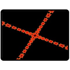 Red Fractal Cross Digital Computer Graphic Fleece Blanket (large)  by Simbadda