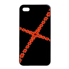 Red Fractal Cross Digital Computer Graphic Apple Iphone 4/4s Seamless Case (black) by Simbadda