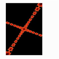 Red Fractal Cross Digital Computer Graphic Large Garden Flag (Two Sides) by Simbadda
