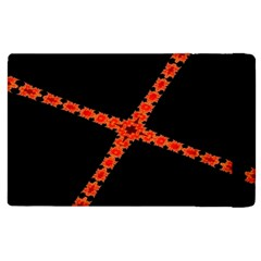 Red Fractal Cross Digital Computer Graphic Apple Ipad 2 Flip Case by Simbadda