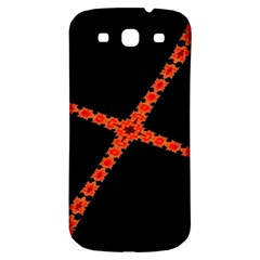 Red Fractal Cross Digital Computer Graphic Samsung Galaxy S3 S Iii Classic Hardshell Back Case by Simbadda