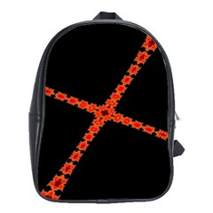 Red Fractal Cross Digital Computer Graphic School Bags (xl)  by Simbadda