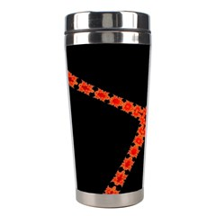 Red Fractal Cross Digital Computer Graphic Stainless Steel Travel Tumblers by Simbadda