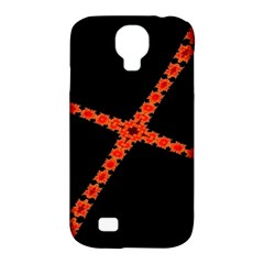 Red Fractal Cross Digital Computer Graphic Samsung Galaxy S4 Classic Hardshell Case (pc+silicone) by Simbadda