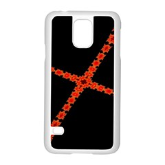 Red Fractal Cross Digital Computer Graphic Samsung Galaxy S5 Case (white) by Simbadda