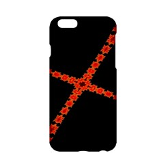 Red Fractal Cross Digital Computer Graphic Apple Iphone 6/6s Hardshell Case by Simbadda