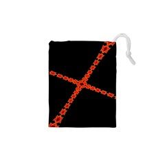 Red Fractal Cross Digital Computer Graphic Drawstring Pouches (xs)  by Simbadda