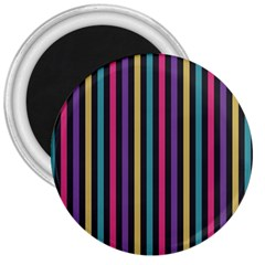 Stripes Colorful Multi Colored Bright Stripes Wallpaper Background Pattern 3  Magnets by Simbadda