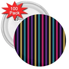 Stripes Colorful Multi Colored Bright Stripes Wallpaper Background Pattern 3  Buttons (100 Pack)  by Simbadda