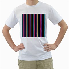 Stripes Colorful Multi Colored Bright Stripes Wallpaper Background Pattern Men s T Shirt (white) (two Sided)