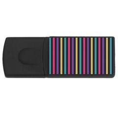 Stripes Colorful Multi Colored Bright Stripes Wallpaper Background Pattern Usb Flash Drive Rectangular (4 Gb)