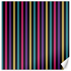 Stripes Colorful Multi Colored Bright Stripes Wallpaper Background Pattern Canvas 16  X 16   by Simbadda