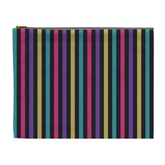 Stripes Colorful Multi Colored Bright Stripes Wallpaper Background Pattern Cosmetic Bag (xl) by Simbadda