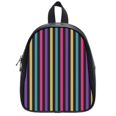Stripes Colorful Multi Colored Bright Stripes Wallpaper Background Pattern School Bags (small)  by Simbadda