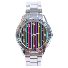 Stripes Colorful Multi Colored Bright Stripes Wallpaper Background Pattern Stainless Steel Analogue Watch by Simbadda