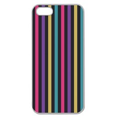 Stripes Colorful Multi Colored Bright Stripes Wallpaper Background Pattern Apple Seamless Iphone 5 Case (clear) by Simbadda