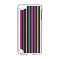 Stripes Colorful Multi Colored Bright Stripes Wallpaper Background Pattern Apple Ipod Touch 5 Case (white) by Simbadda