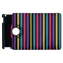 Stripes Colorful Multi Colored Bright Stripes Wallpaper Background Pattern Apple Ipad 2 Flip 360 Case by Simbadda