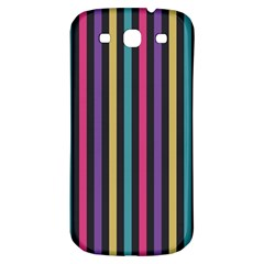 Stripes Colorful Multi Colored Bright Stripes Wallpaper Background Pattern Samsung Galaxy S3 S Iii Classic Hardshell Back Case by Simbadda