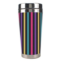 Stripes Colorful Multi Colored Bright Stripes Wallpaper Background Pattern Stainless Steel Travel Tumblers by Simbadda