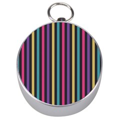 Stripes Colorful Multi Colored Bright Stripes Wallpaper Background Pattern Silver Compasses by Simbadda