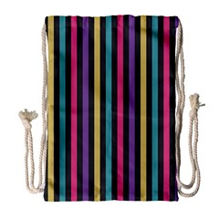 Stripes Colorful Multi Colored Bright Stripes Wallpaper Background Pattern Drawstring Bag (large) by Simbadda