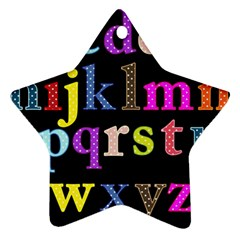 Alphabet Letters Colorful Polka Dots Letters In Lower Case Ornament (Star)