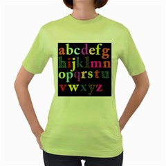 Alphabet Letters Colorful Polka Dots Letters In Lower Case Women s Green T Shirt by Simbadda