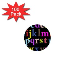 Alphabet Letters Colorful Polka Dots Letters In Lower Case 1  Mini Buttons (100 pack)