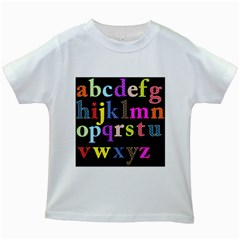 Alphabet Letters Colorful Polka Dots Letters In Lower Case Kids White T-Shirts