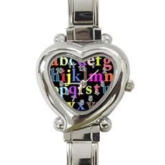 Alphabet Letters Colorful Polka Dots Letters In Lower Case Heart Italian Charm Watch