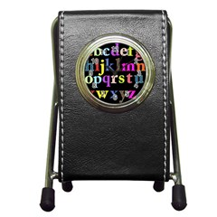 Alphabet Letters Colorful Polka Dots Letters In Lower Case Pen Holder Desk Clocks