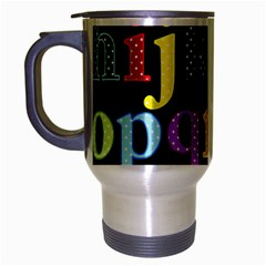 Alphabet Letters Colorful Polka Dots Letters In Lower Case Travel Mug (Silver Gray)