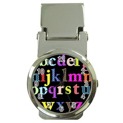 Alphabet Letters Colorful Polka Dots Letters In Lower Case Money Clip Watches