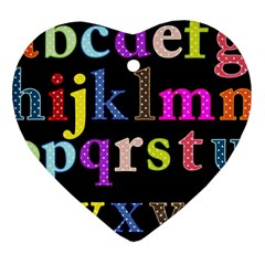 Alphabet Letters Colorful Polka Dots Letters In Lower Case Heart Ornament (Two Sides)