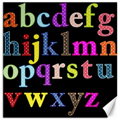 Alphabet Letters Colorful Polka Dots Letters In Lower Case Canvas 20  x 20