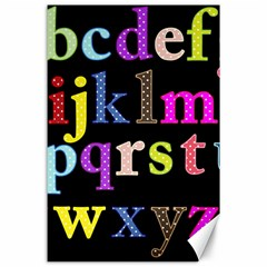 Alphabet Letters Colorful Polka Dots Letters In Lower Case Canvas 24  X 36  by Simbadda