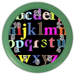 Alphabet Letters Colorful Polka Dots Letters In Lower Case Color Wall Clocks