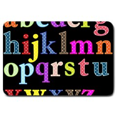 Alphabet Letters Colorful Polka Dots Letters In Lower Case Large Doormat  by Simbadda