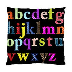 Alphabet Letters Colorful Polka Dots Letters In Lower Case Standard Cushion Case (Two Sides)