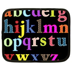Alphabet Letters Colorful Polka Dots Letters In Lower Case Netbook Case (xxl)  by Simbadda