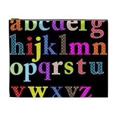 Alphabet Letters Colorful Polka Dots Letters In Lower Case Cosmetic Bag (xl) by Simbadda