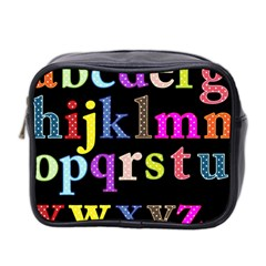 Alphabet Letters Colorful Polka Dots Letters In Lower Case Mini Toiletries Bag 2 Side by Simbadda